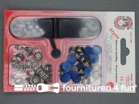 Roland drukkers 10,5mm licht kobalt blauw 15 stuks