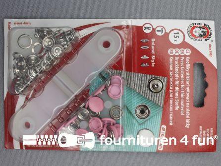 Roland drukkers 10,5mm licht roze 15 stuks