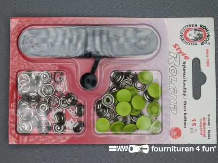 Roland drukkers 10,5mm lime groen 15 stuks