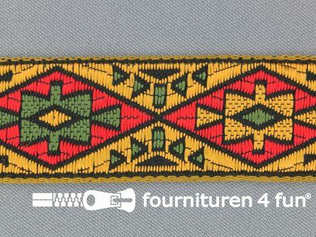 Indianenband 26mm geel - rood