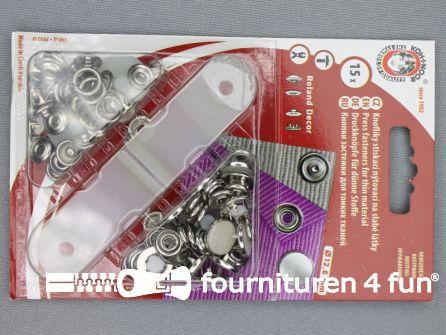 Roland drukkers 12,6mm parelmoer wit 15 stuks