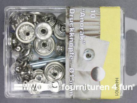 Drukknopen 15mm zilver 10 stuks