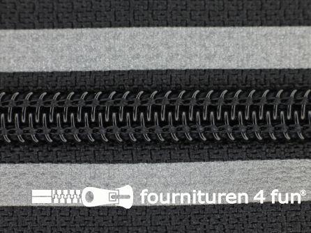Deelbare reflecterende rits 7mm zwart - grijs