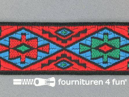 Indianenband 26mm rood - blauw
