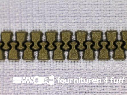 Niet deelbare bloktand rits 6mm licht grijs - brons tandjes