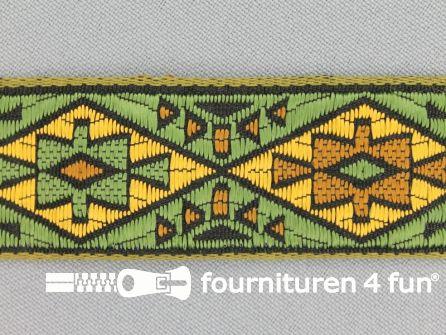 Indianenband 26mm groen - geel