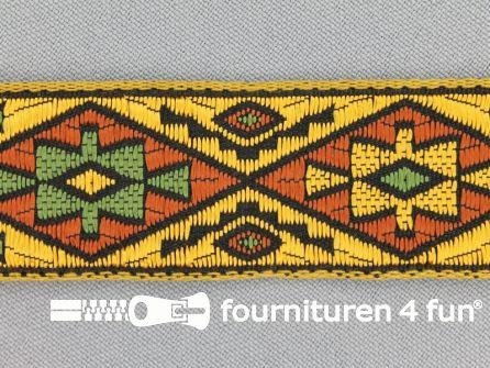 Indianenband 26mm geel - bruin