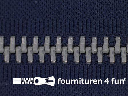Deelbare zilveren rits 5mm marine blauw