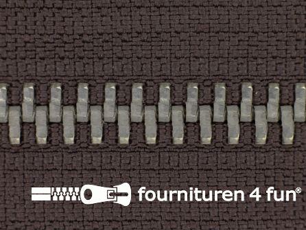 Deelbare zilveren rits 5mm donker bruin