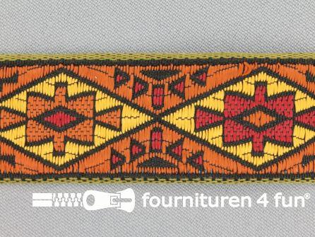 Indianenband 26mm brique - geel