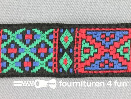 Indianenband 26mm rood - groen - blauw