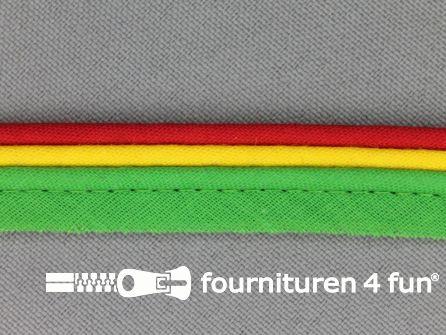 Katoenen paspelband 15mm rood - geel - groen