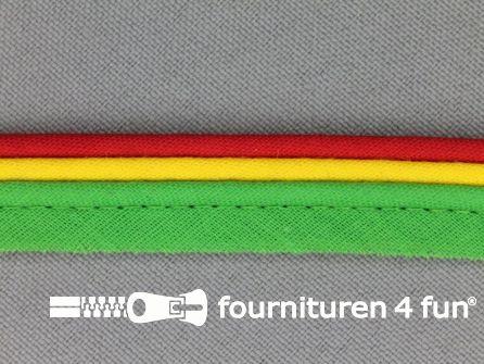 Rol 25 meter katoenen paspelband 15mm rood - geel - groen