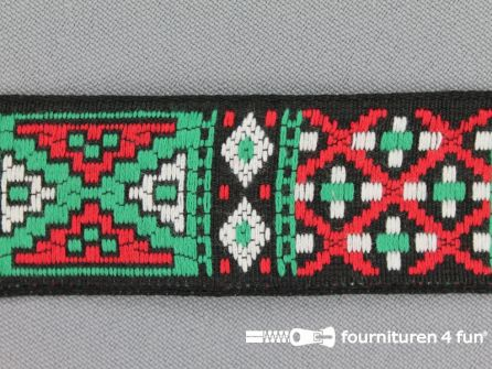 Indianenband 26mm groen - rood - wit