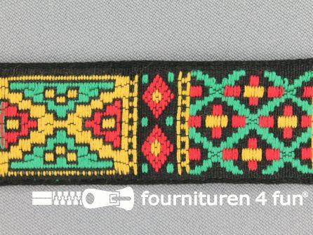 Indianenband 26mm rood - geel - groen