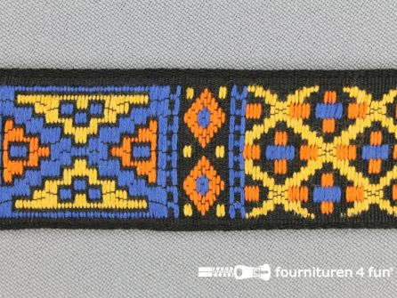Indianenband 26mm geel - blauw - oranje