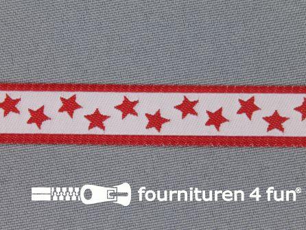 Kinderband 14mm sterren wit - rood