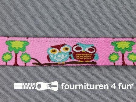 Kinderband 14mm uiltjes roze