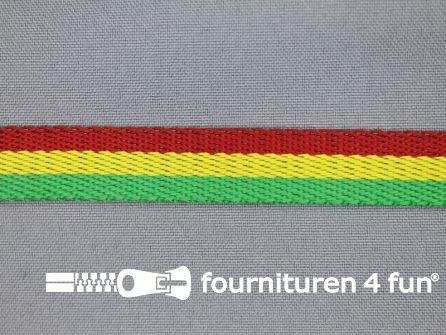 Gestreept tassenband 15mm rood - geel - groen