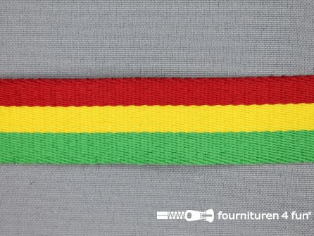 Gestreept tassenband 25mm rood - geel - groen