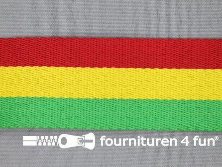 Gestreept tassenband 38mm rood - geel - groen