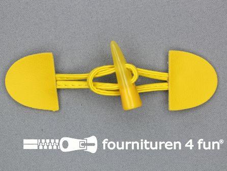 Kinder houtje touwtje 35x110mm fel geel