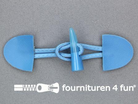 Kinder houtje touwtje 35x110mm aqua blauw