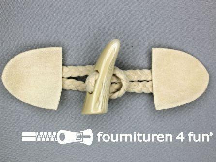 Suede houtje touwtje 55x130mm zand-beige