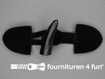 Suede houtje touwtje 55x130mm zwart