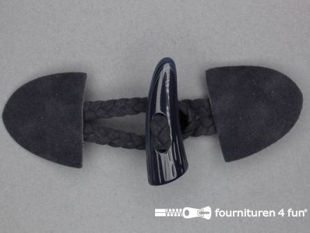 Suede houtje touwtje 55x130mm marine blauw