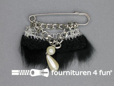 Kiltspeld corsage 60mm bont zilver