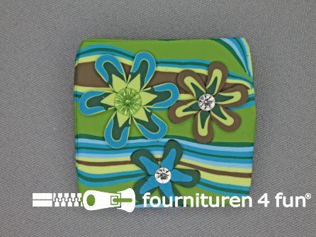 Trendy broche 45mm vierkant groen
