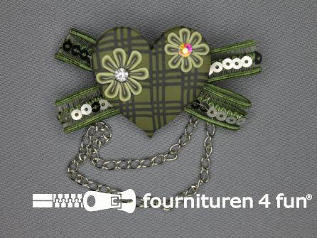 Trendy corsage 70mm hartje olijf groen