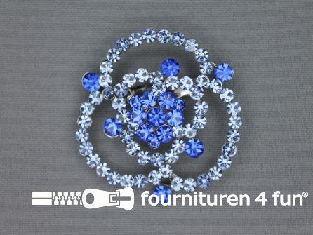 Strass broche 50mm roos blauw