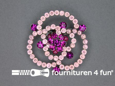 Strass broche 50mm roos licht roze