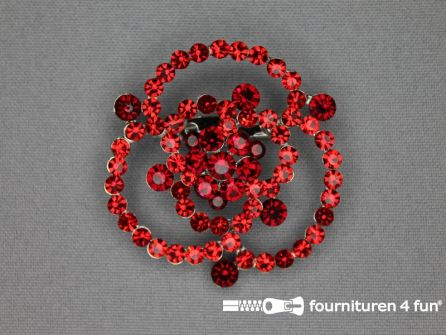 Strass broche 50mm roos rood