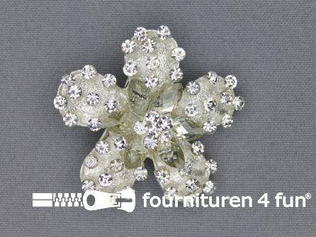 Strass broche 50mm bloem zilver