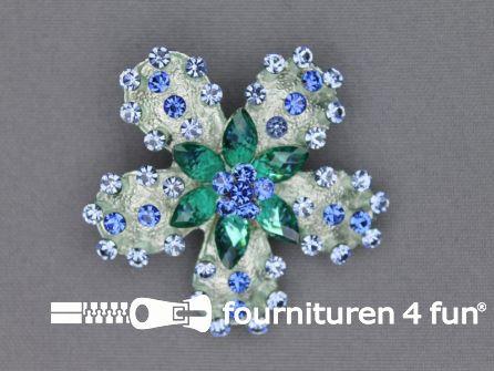 Strass broche 50mm bloem blauw