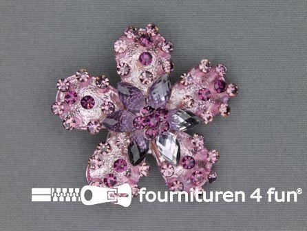 Strass broche 50mm bloem antique roze