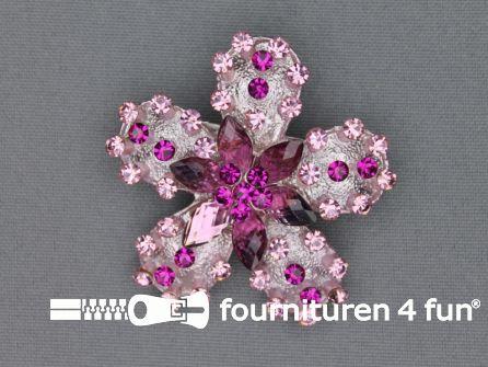 Strass broche 50mm bloem fuchsia