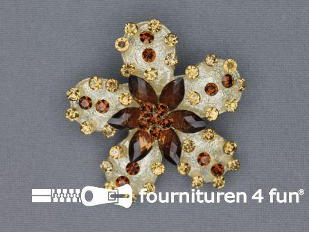 Strass broche 50mm bloem bruin