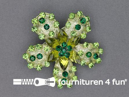 Strass broche 50mm bloem lime groen