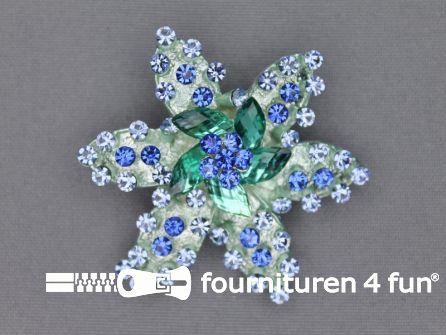 Strass broche 55mm ster blauw