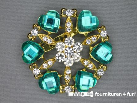 Strass broche 60mm hartjes turquoise