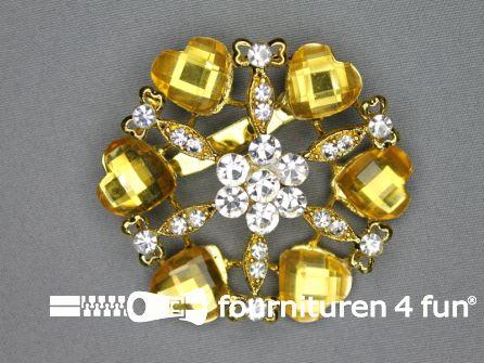 Strass broche 60mm hartjes goud geel