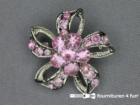 Strass broche 30mm strik licht roze