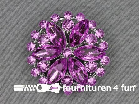 Strass broche 37mm rond lila