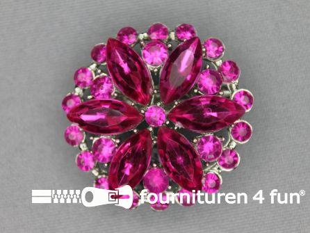 Strass broche 37mm rond fuchsia roze
