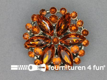 Strass broche 37mm rond oranje
