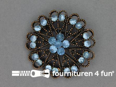 Strass broche 37mm brons - licht blauw